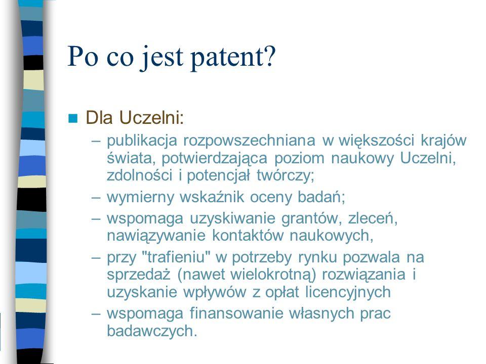 Po co jest patent? Dla Uczelni: –publikacja rozpowszechniana w większości krajów świata, potwierdzająca poziom naukowy Uczelni, zdolności i potencjał