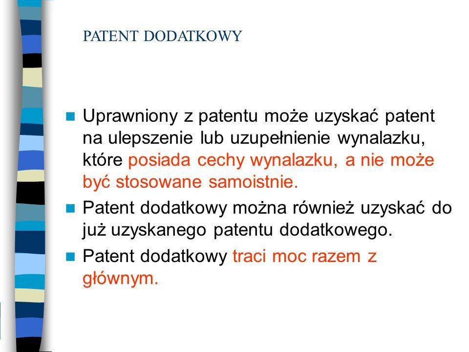 Uprawniony z patentu może uzyskać patent na ulepszenie lub uzupełnienie wynalazku, które posiada cechy wynalazku, a nie może być stosowane samoistnie.