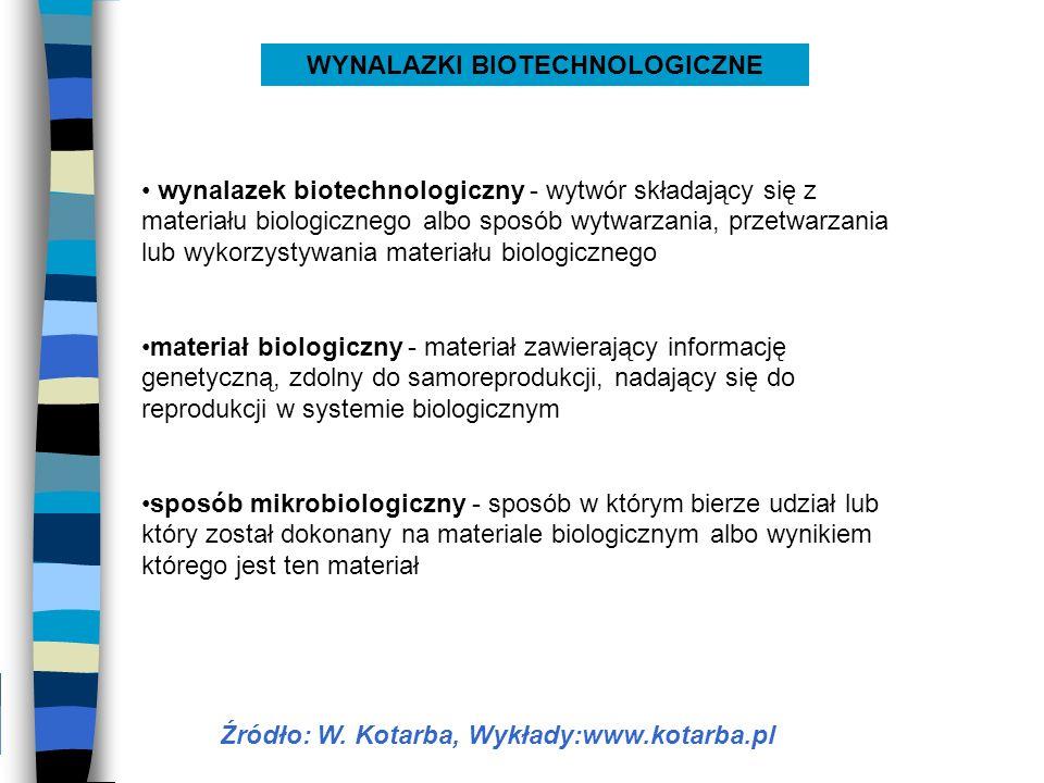 wynalazek biotechnologiczny - wytwór składający się z materiału biologicznego albo sposób wytwarzania, przetwarzania lub wykorzystywania materiału bio