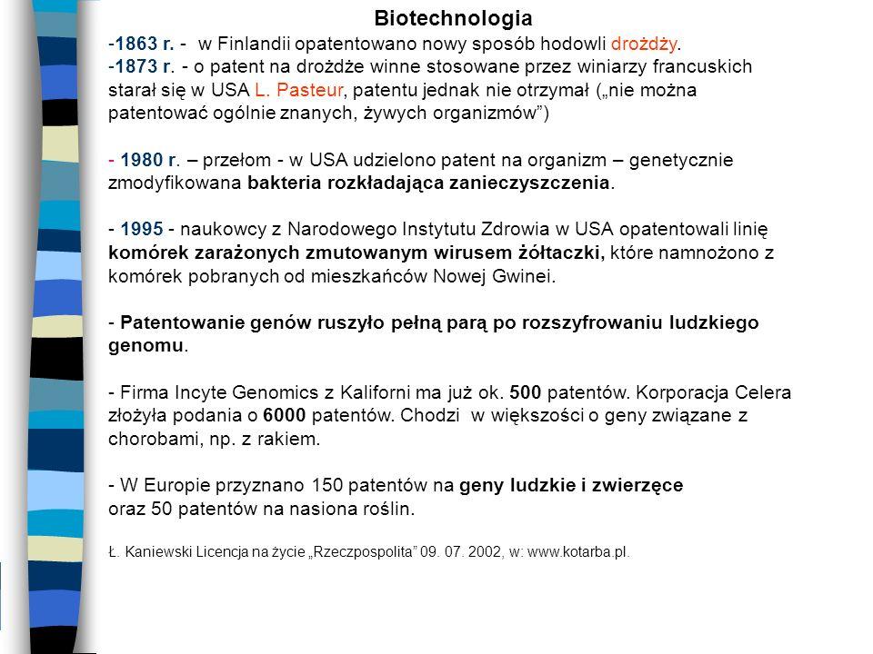 Biotechnologia -1863 r. - w Finlandii opatentowano nowy sposób hodowli drożdży. -1873 r. - o patent na drożdże winne stosowane przez winiarzy francusk
