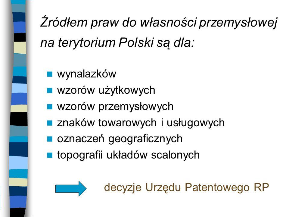 Źródłem praw do własności przemysłowej na terytorium Polski są dla: wynalazków wzorów użytkowych wzorów przemysłowych znaków towarowych i usługowych o