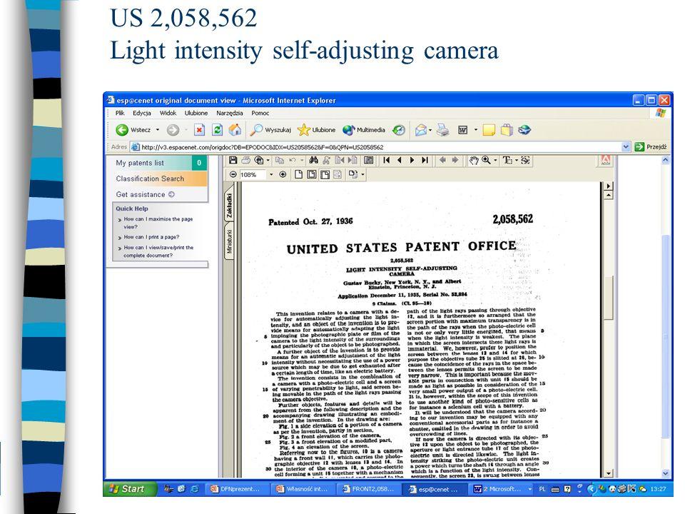 US 2,058,562 Light intensity self-adjusting camera
