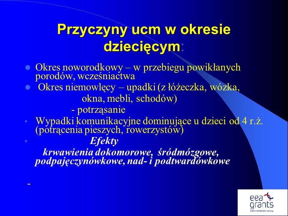 Przyczyny ucm w okresie dziecięcym: Okres noworodkowy – w przebiegu powikłanych porodów, wcześniactwa Okres niemowlęcy – upadki (z łóżeczka, wózka, ok