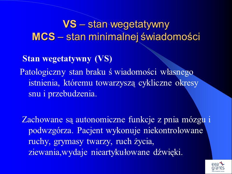 VS – stan wegetatywny MCS – stan minimalnej świadomości Stan wegetatywny (VS) Patologiczny stan braku ś wiadomości własnego istnienia, któremu towarzy
