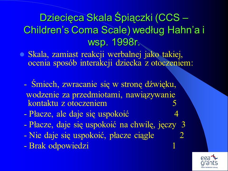 Dziecięca Skala Śpiączki (CCS – Childrens Coma Scale) według Hahna i wsp. 1998r. Skala, zamiast reakcji werbalnej jako takiej, ocenia sposób interakcj