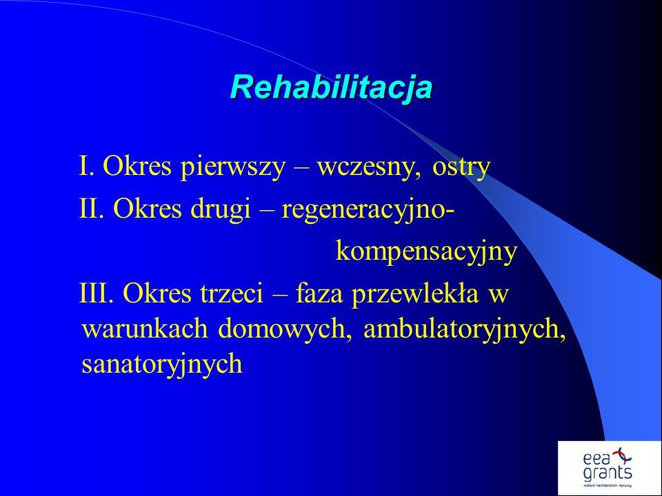 Rehabilitacja I. Okres pierwszy – wczesny, ostry II. Okres drugi – regeneracyjno- kompensacyjny III. Okres trzeci – faza przewlekła w warunkach domowy
