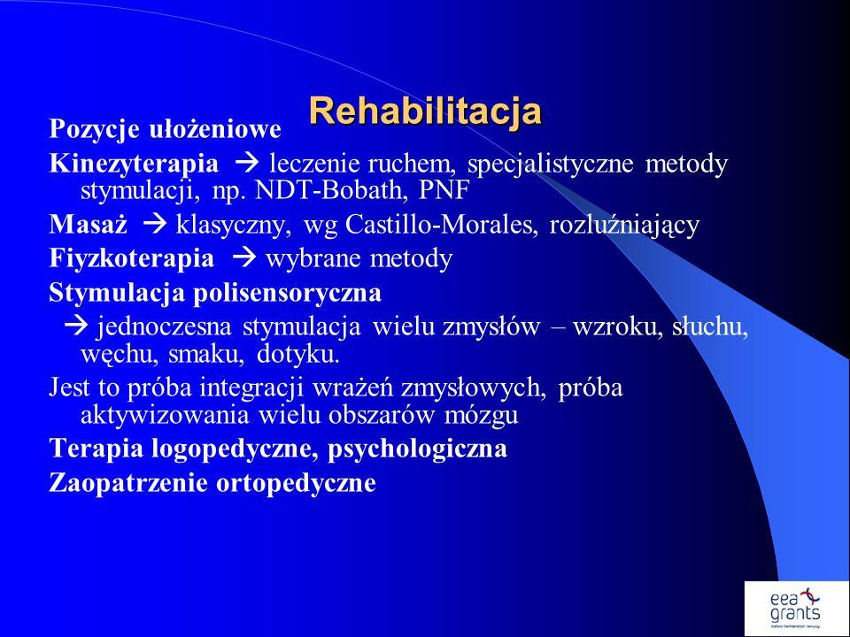 Rehabilitacja Pozycje ułożeniowe Kinezyterapia leczenie ruchem, specjalistyczne metody stymulacji, np. NDT-Bobath, PNF Masaż klasyczny, wg Castillo-Mo