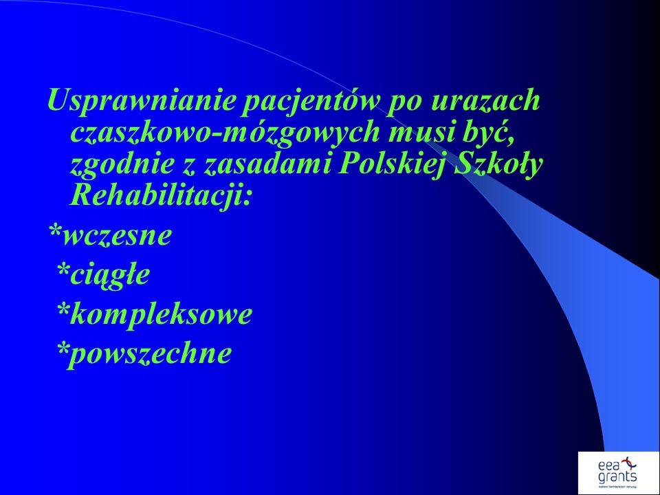 Usprawnianie pacjentów po urazach czaszkowo-mózgowych musi być, zgodnie z zasadami Polskiej Szkoły Rehabilitacji: *wczesne *ciągłe *kompleksowe *powsz