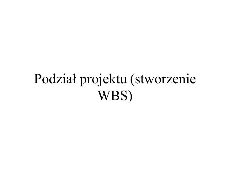 Podział projektu (stworzenie WBS)