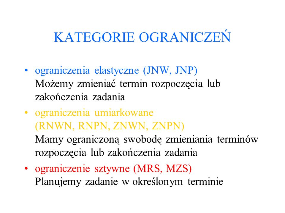 KATEGORIE OGRANICZEŃ ograniczenia elastyczne (JNW, JNP) Możemy zmieniać termin rozpoczęcia lub zakończenia zadania ograniczenia umiarkowane (RNWN, RNP