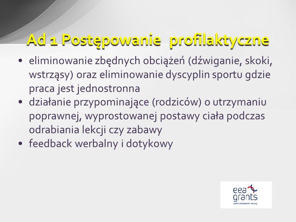 eliminowanie zbędnych obciążeń (dźwiganie, skoki, wstrząsy) oraz eliminowanie dyscyplin sportu gdzie praca jest jednostronna działanie przypominające