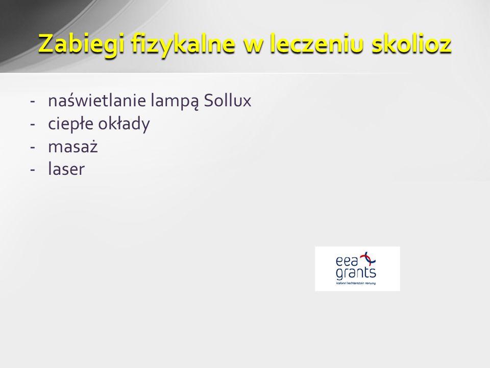 -naświetlanie lampą Sollux -ciepłe okłady -masaż -laser Zabiegi fizykalne w leczeniu skolioz