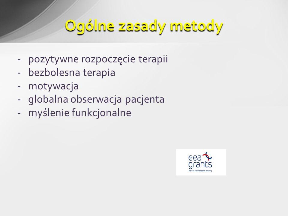 -pozytywne rozpoczęcie terapii -bezbolesna terapia -motywacja -globalna obserwacja pacjenta -myślenie funkcjonalne Ogólne zasady metody