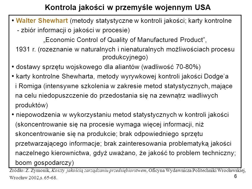 6 Walter Shewhart (metody statystyczne w kontroli jakości; karty kontrolne - zbiór informacji o jakości w procesie) Economic Control of Quality of Man