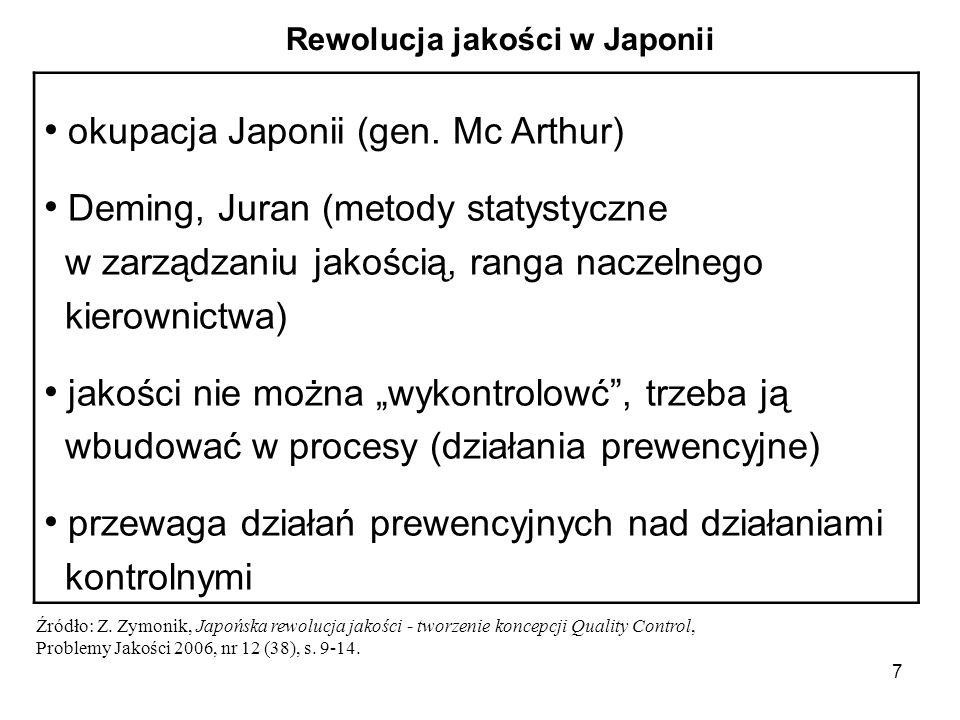 7 okupacja Japonii (gen. Mc Arthur) Deming, Juran (metody statystyczne w zarządzaniu jakością, ranga naczelnego kierownictwa) jakości nie można wykont