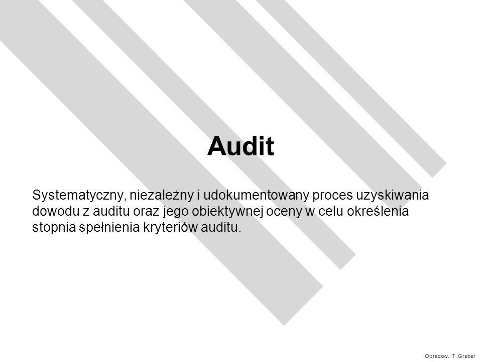 Opracow.: T. Greber Audit Systematyczny, niezależny i udokumentowany proces uzyskiwania dowodu z auditu oraz jego obiektywnej oceny w celu określenia