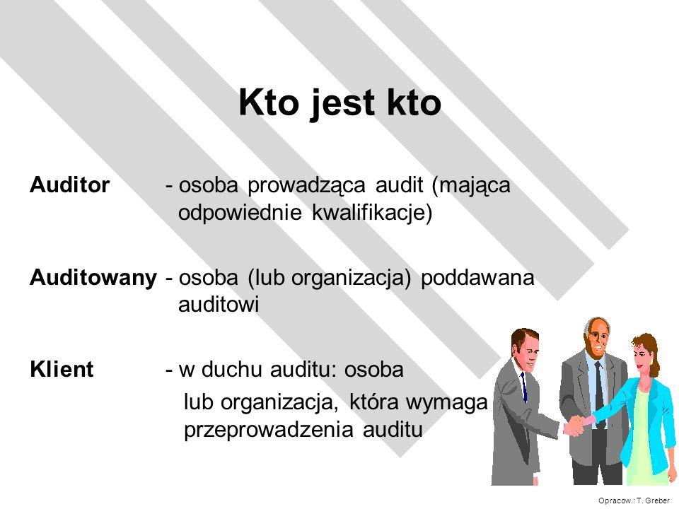 Opracow.: T. Greber Kto jest kto Auditor - osoba prowadząca audit (mająca odpowiednie kwalifikacje) Auditowany - osoba (lub organizacja) poddawana aud