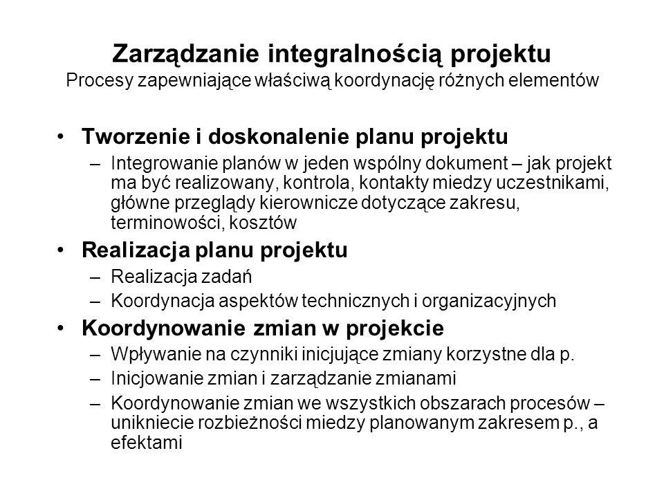 Zarządzanie integralnością projektu Procesy zapewniające właściwą koordynację różnych elementów Tworzenie i doskonalenie planu projektu –Integrowanie