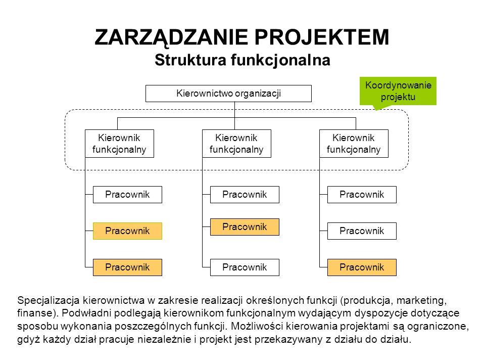 ZARZĄDZANIE PROJEKTEM Struktura funkcjonalna Pracownik Kierownictwo organizacji Kierownik funkcjonalny Pracownik Koordynowanie projektu Specjalizacja