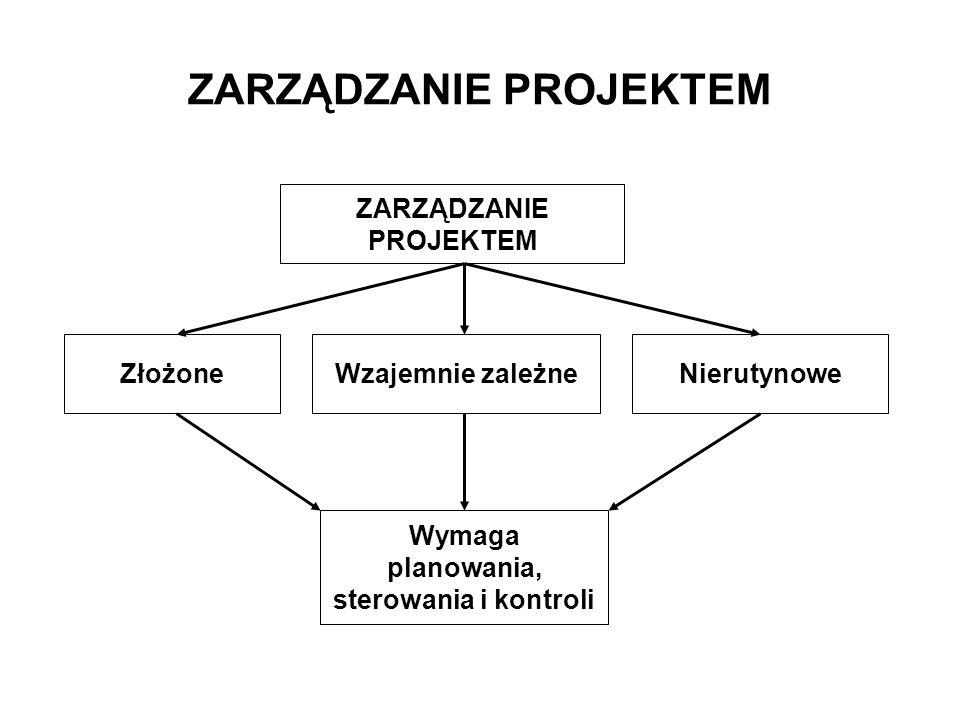 ZłożoneWzajemnie zależneNierutynowe Wymaga planowania, sterowania i kontroli
