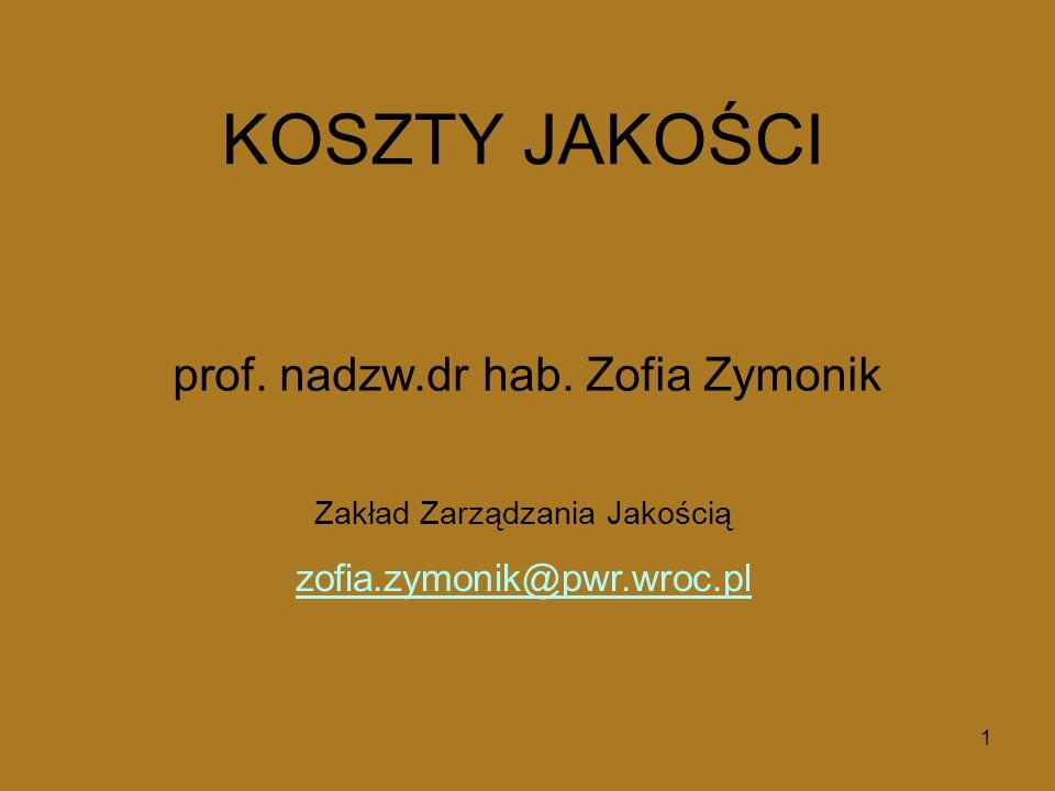 1 Zakład Zarządzania Jakością zofia.zymonik@pwr.wroc.pl KOSZTY JAKOŚCI prof. nadzw.dr hab. Zofia Zymonik