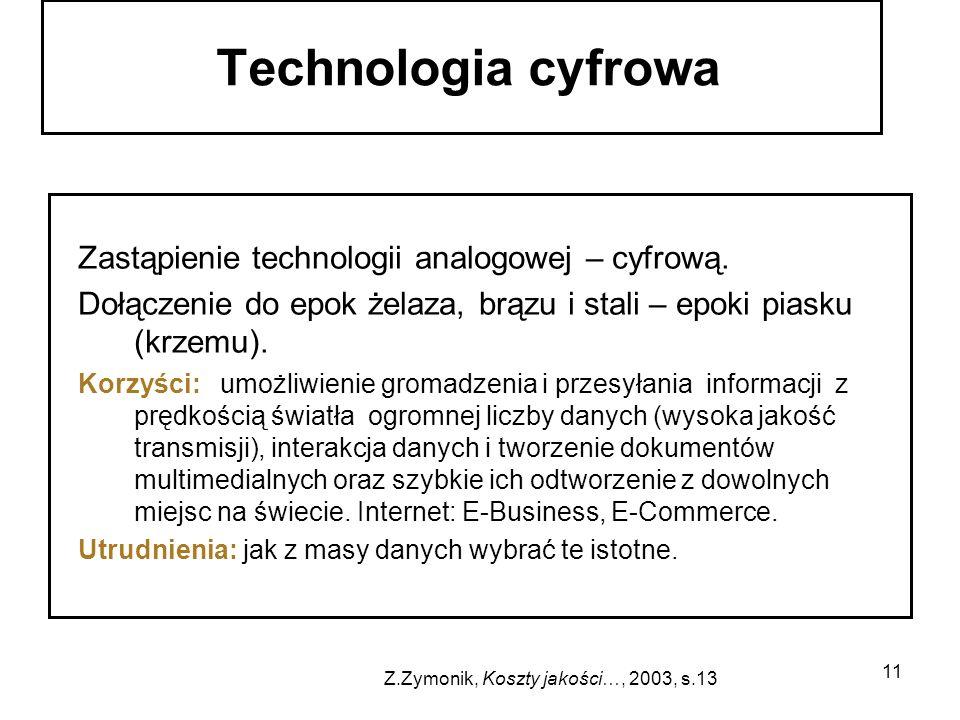 11 Zastąpienie technologii analogowej – cyfrową. Dołączenie do epok żelaza, brązu i stali – epoki piasku (krzemu). Korzyści: umożliwienie gromadzenia