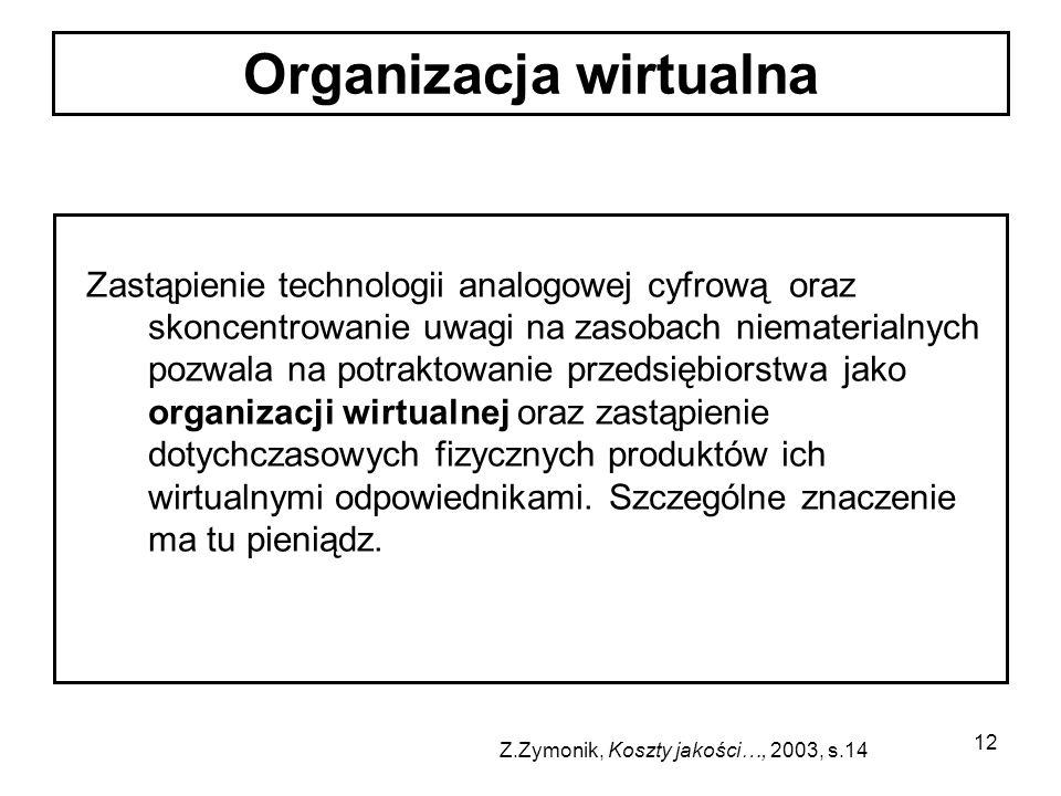 12 Zastąpienie technologii analogowej cyfrową oraz skoncentrowanie uwagi na zasobach niematerialnych pozwala na potraktowanie przedsiębiorstwa jako or