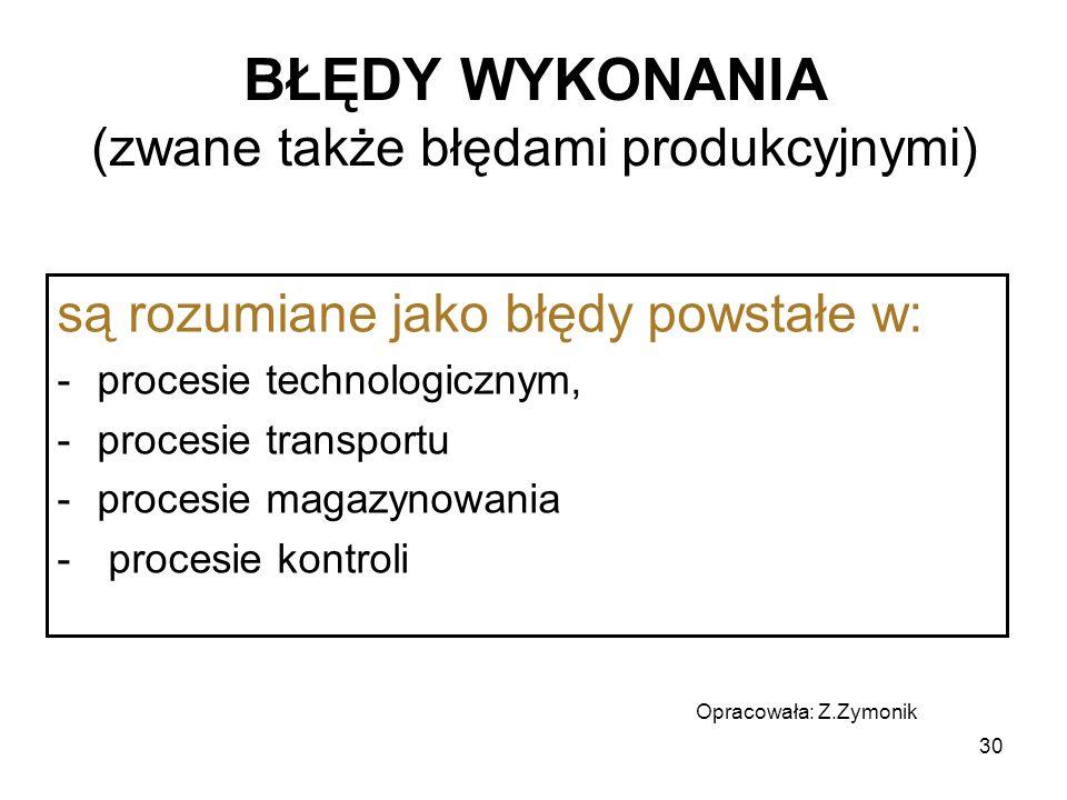 30 BŁĘDY WYKONANIA (zwane także błędami produkcyjnymi) są rozumiane jako błędy powstałe w: -procesie technologicznym, -procesie transportu -procesie m