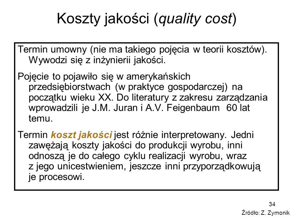 34 Koszty jakości (quality cost) Termin umowny (nie ma takiego pojęcia w teorii kosztów). Wywodzi się z inżynierii jakości. Pojęcie to pojawiło się w