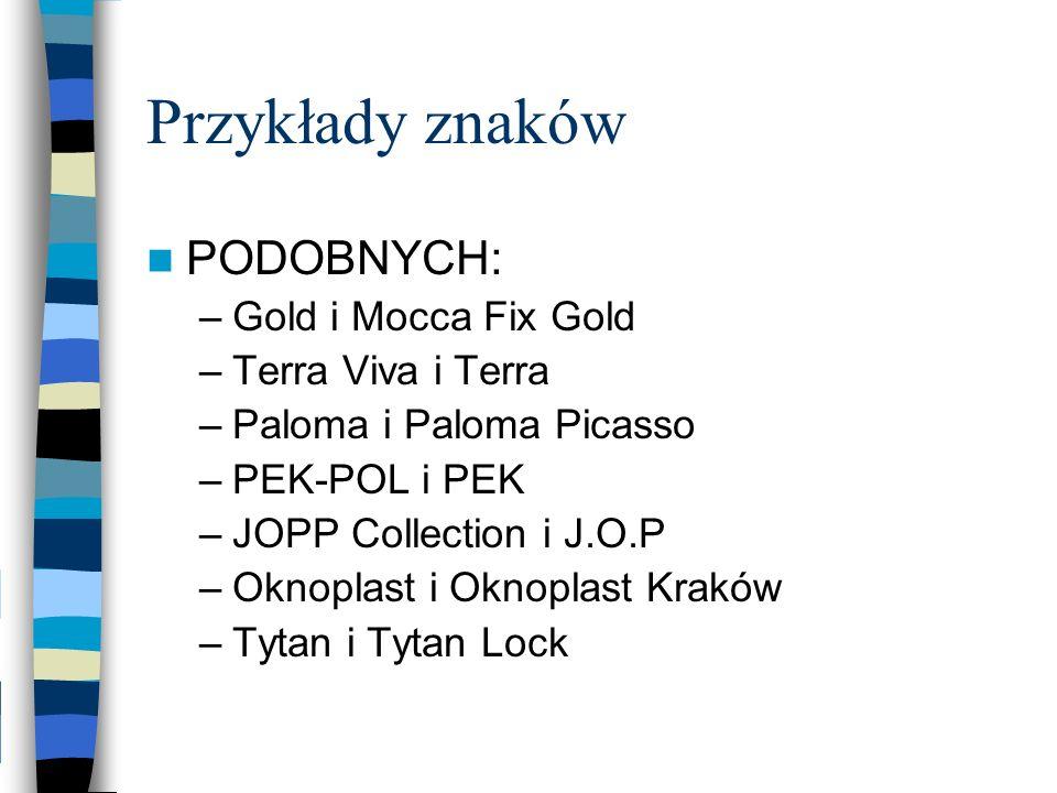 Przykłady znaków PODOBNYCH: –Gold i Mocca Fix Gold –Terra Viva i Terra –Paloma i Paloma Picasso –PEK-POL i PEK –JOPP Collection i J.O.P –Oknoplast i O
