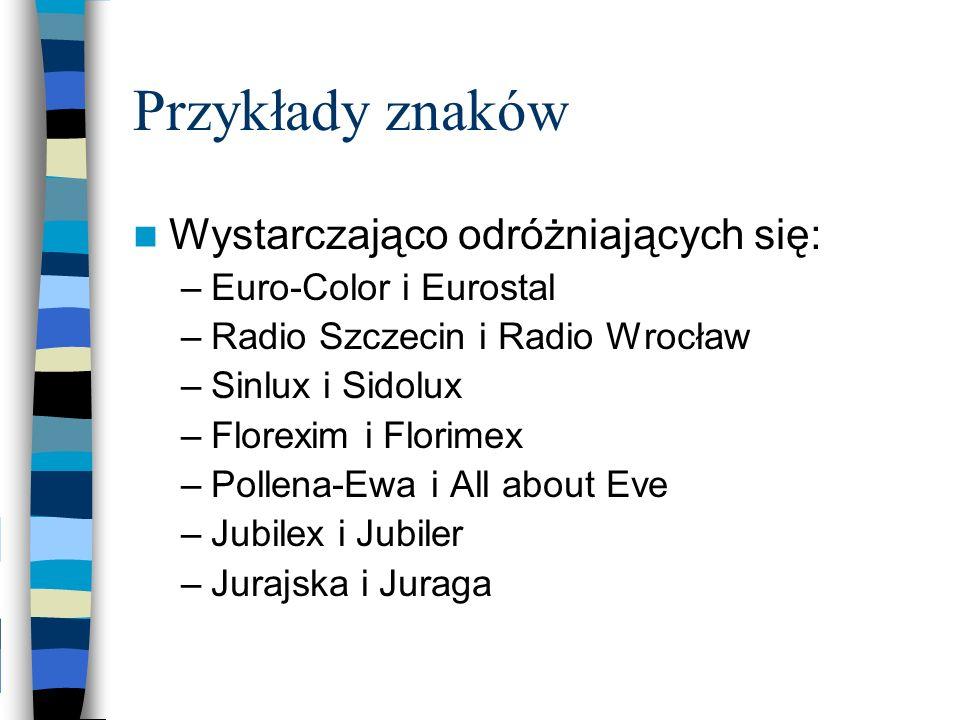 Wystarczająco odróżniających się: –Euro-Color i Eurostal –Radio Szczecin i Radio Wrocław –Sinlux i Sidolux –Florexim i Florimex –Pollena-Ewa i All abo