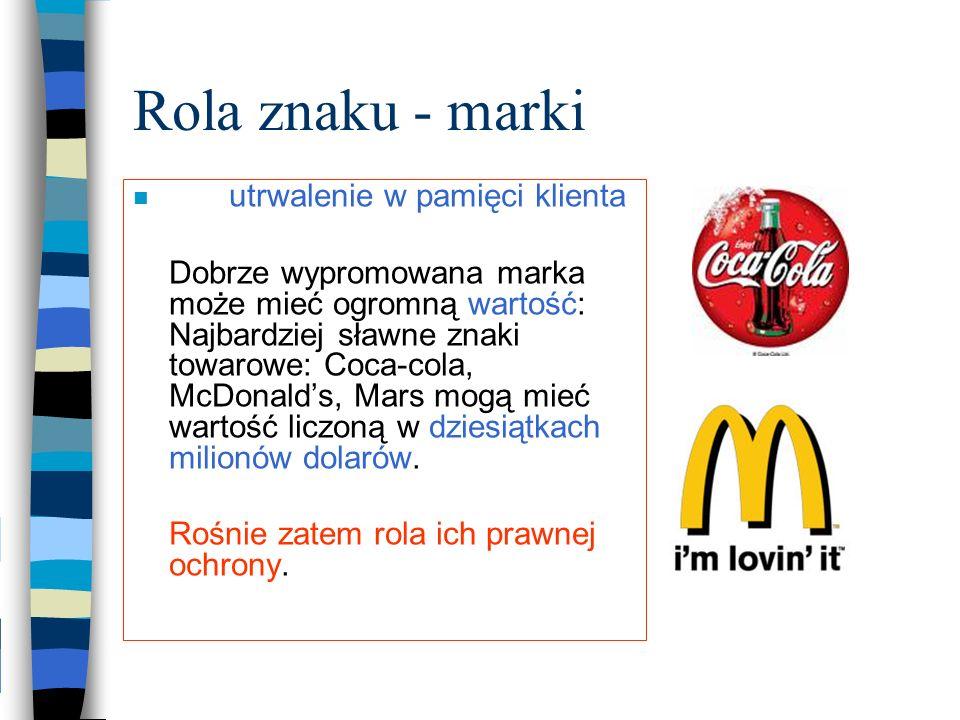 Rola znaku - marki utrwalenie w pamięci klienta Dobrze wypromowana marka może mieć ogromną wartość: Najbardziej sławne znaki towarowe: Coca-cola, McDo