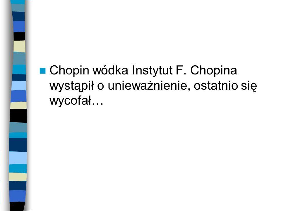 Chopin wódka Instytut F. Chopina wystąpił o unieważnienie, ostatnio się wycofał…