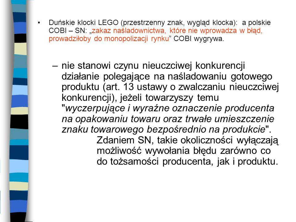 Duńskie klocki LEGO (przestrzenny znak, wygląd klocka): a polskie COBI – SN: zakaz naśladownictwa, które nie wprowadza w błąd, prowadziłoby do monopol