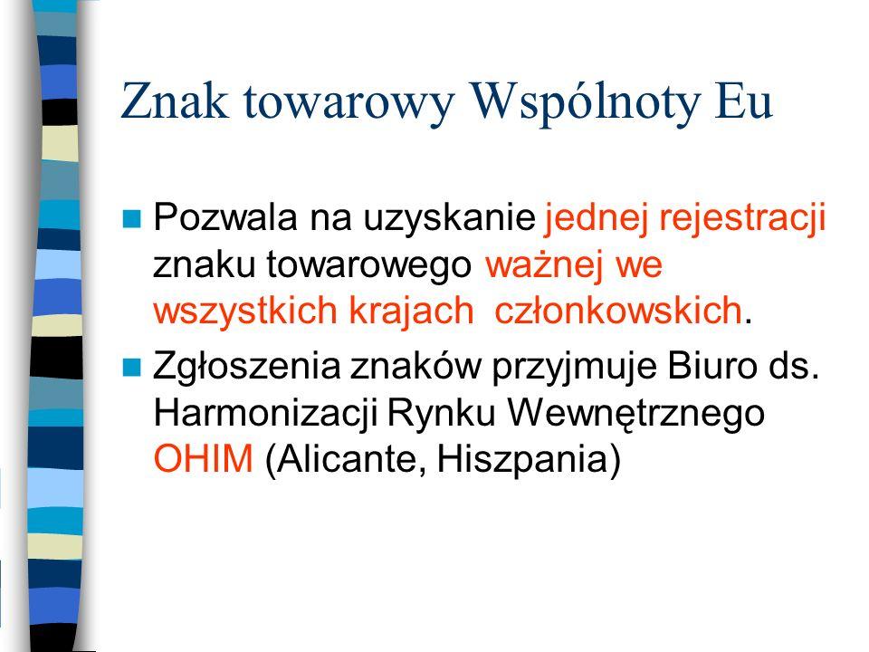 Znak towarowy Wspólnoty Eu Pozwala na uzyskanie jednej rejestracji znaku towarowego ważnej we wszystkich krajach członkowskich. Zgłoszenia znaków przy