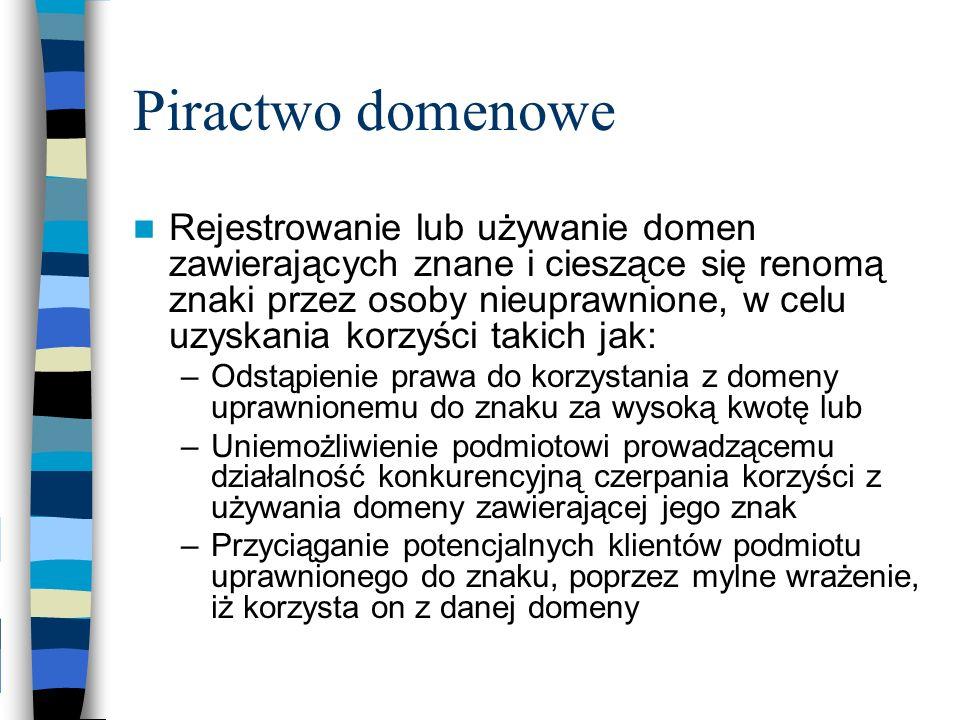 Piractwo domenowe Rejestrowanie lub używanie domen zawierających znane i cieszące się renomą znaki przez osoby nieuprawnione, w celu uzyskania korzyśc