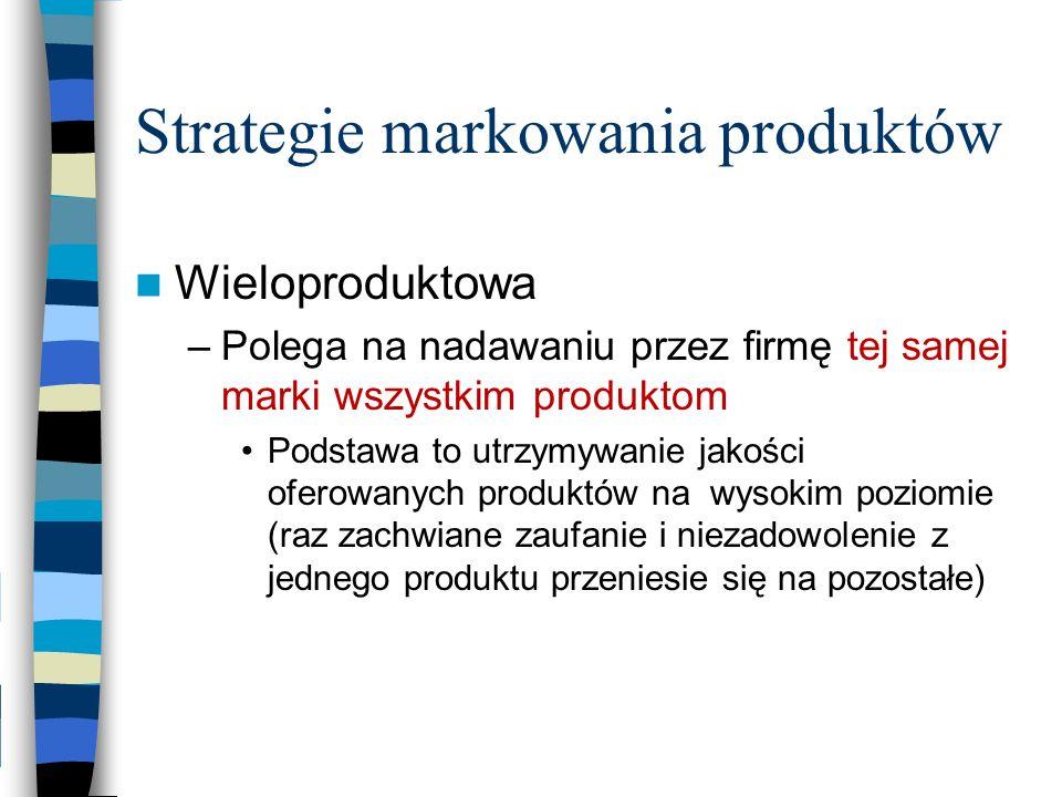 Strategie markowania produktów Wieloproduktowa –Polega na nadawaniu przez firmę tej samej marki wszystkim produktom Podstawa to utrzymywanie jakości o