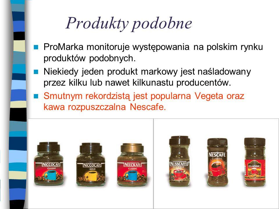 Produkty podobne ProMarka monitoruje występowania na polskim rynku produktów podobnych. Niekiedy jeden produkt markowy jest naśladowany przez kilku lu