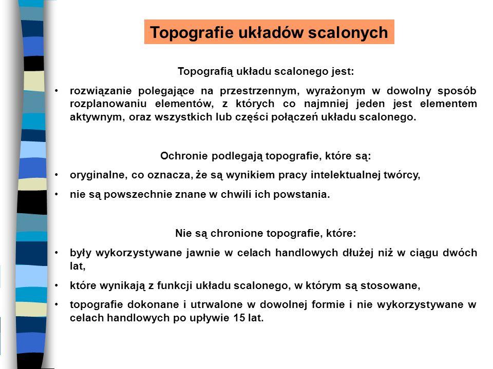 Topografie układów scalonych Topografią układu scalonego jest: rozwiązanie polegające na przestrzennym, wyrażonym w dowolny sposób rozplanowaniu eleme