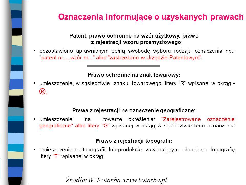Oznaczenia informujące o uzyskanych prawach Patent, prawo ochronne na wzór użytkowy, prawo z rejestracji wzoru przemysłowego: pozostawiono uprawnionym