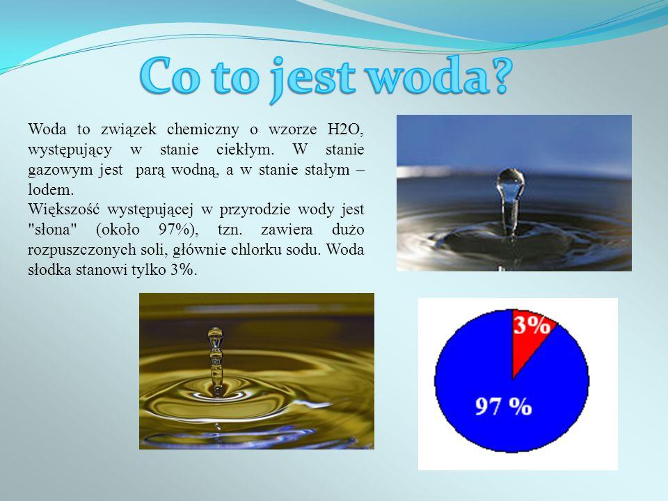 Woda to związek chemiczny o wzorze H2O, występujący w stanie ciekłym. W stanie gazowym jest parą wodną, a w stanie stałym – lodem. Większość występują