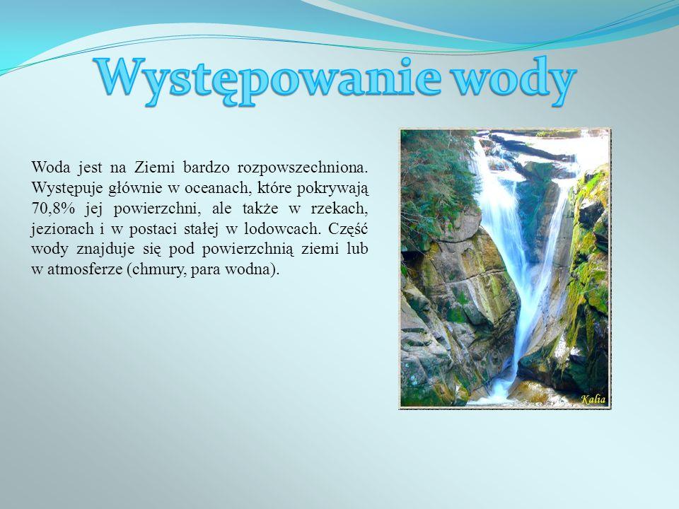 Woda jest na Ziemi bardzo rozpowszechniona. Występuje głównie w oceanach, które pokrywają 70,8% jej powierzchni, ale także w rzekach, jeziorach i w po