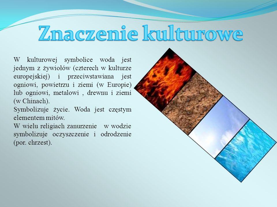 W kulturowej symbolice woda jest jednym z żywiołów (czterech w kulturze europejskiej) i przeciwstawiana jest ogniowi, powietrzu i ziemi (w Europie) lu