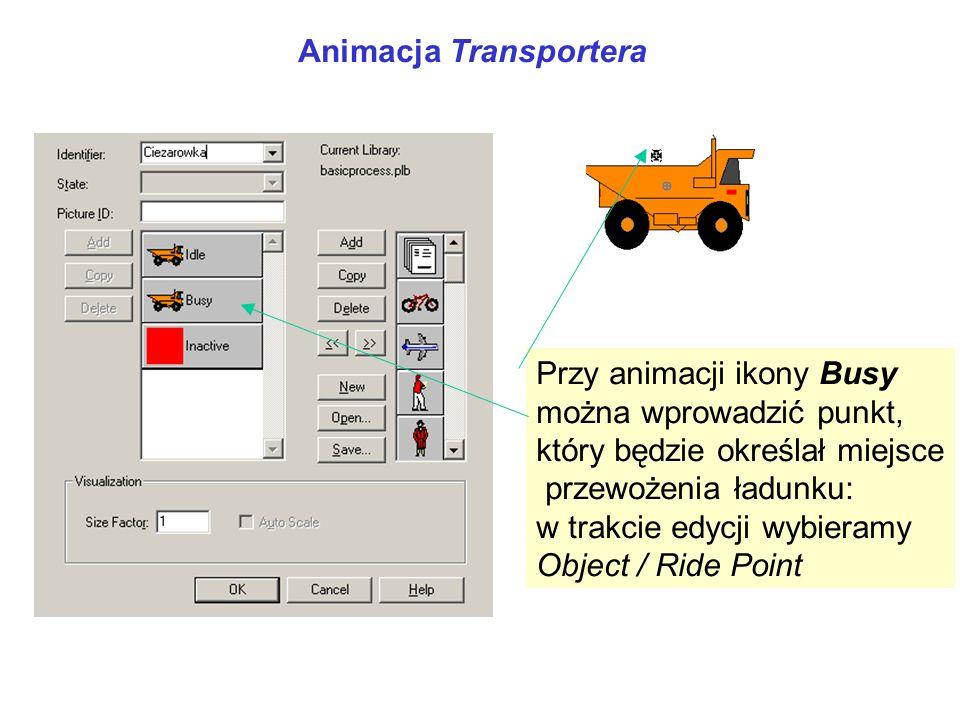 Animacja Transportera Przy animacji ikony Busy można wprowadzić punkt, który będzie określał miejsce przewożenia ładunku: w trakcie edycji wybieramy O