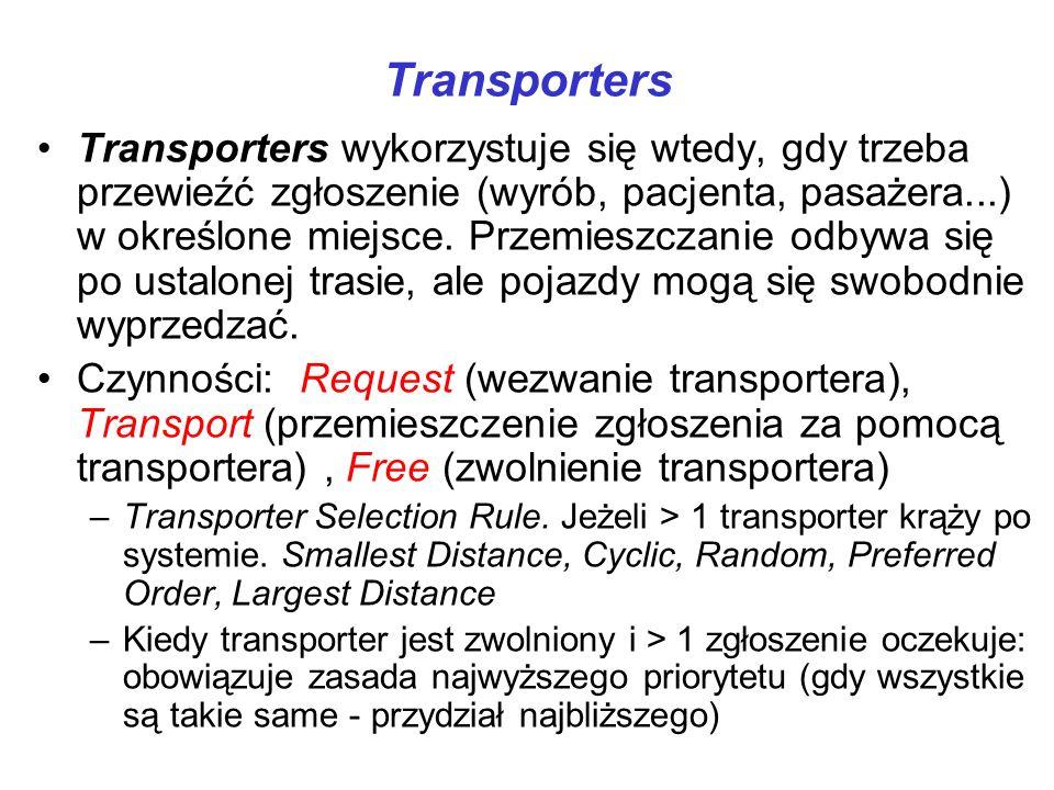 Transporters Transporters wykorzystuje się wtedy, gdy trzeba przewieźć zgłoszenie (wyrób, pacjenta, pasażera...) w określone miejsce. Przemieszczanie