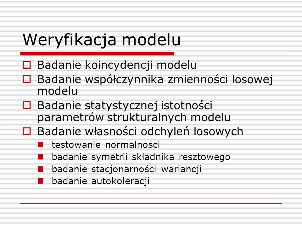 Weryfikacja modelu Badanie koincydencji modelu Badanie współczynnika zmienności losowej modelu Badanie statystycznej istotności parametrów strukturaln