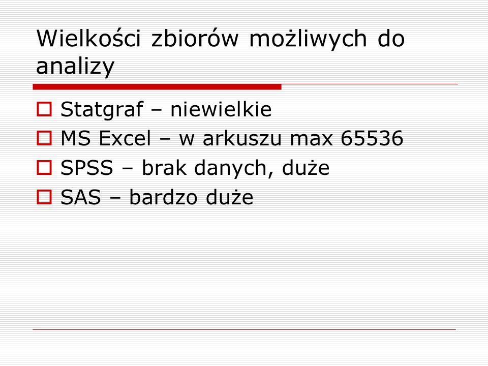 Wielkości zbiorów możliwych do analizy Statgraf – niewielkie MS Excel – w arkuszu max 65536 SPSS – brak danych, duże SAS – bardzo duże