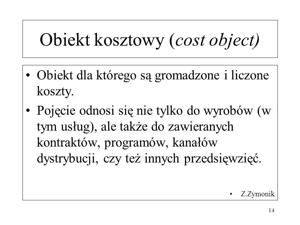Obiekt kosztowy (cost object) Obiekt dla którego są gromadzone i liczone koszty. Pojęcie odnosi się nie tylko do wyrobów (w tym usług), ale także do z