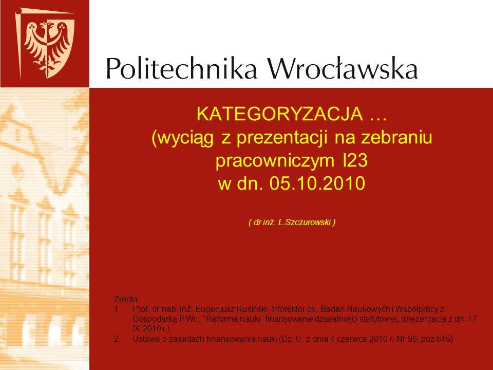 KATEGORYZACJA … (wyciąg z prezentacji na zebraniu pracowniczym I23 w dn. 05.10.2010 ( dr inż. L.Szczurowski ) Źródła: 1.Prof. dr hab. inż. Eugeniusz R