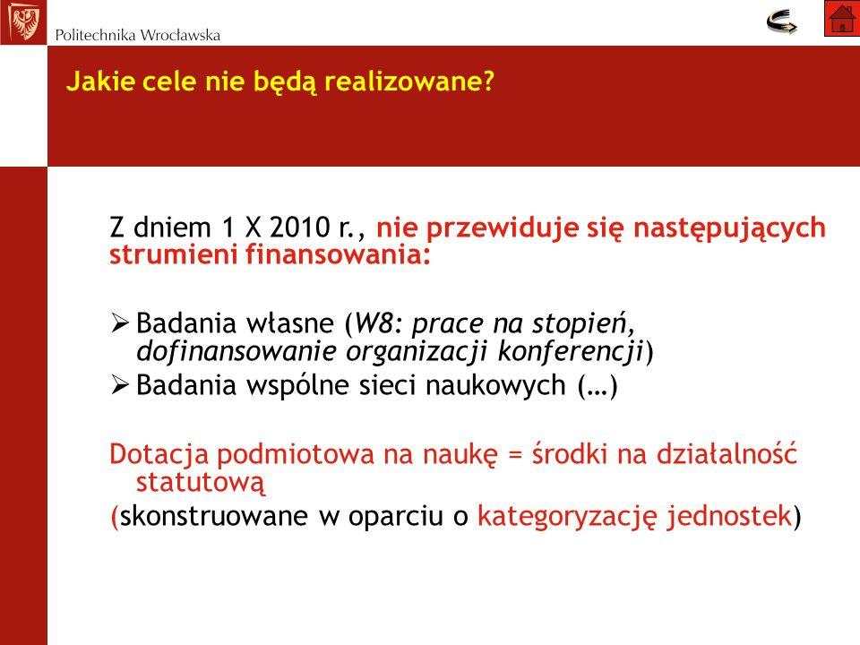 Jakie cele nie będą realizowane? Z dniem 1 X 2010 r., nie przewiduje się następujących strumieni finansowania: Badania własne (W8: prace na stopień, d